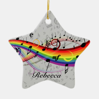 Rainbow Black Musical Notes on Gray Christmas Ornament