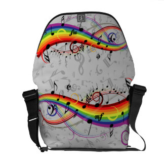Rainbow Black Musical Notes on Gray Commuter Bags