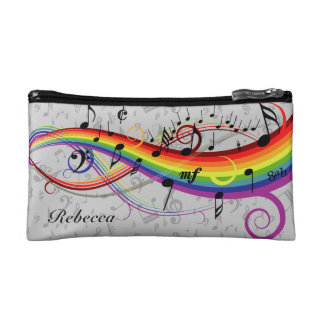 Rainbow Black Musical Notes on Gray Cosmetic Bag