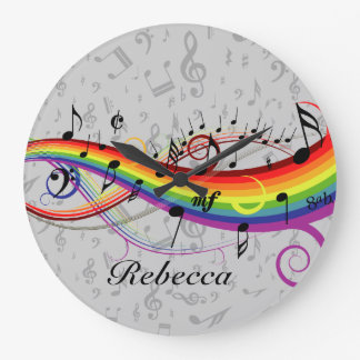 Rainbow Black Musical Notes on Gray Large Clock