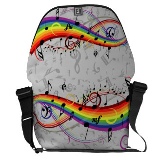 Rainbow Black Musical Notes on Gray Messenger Bag