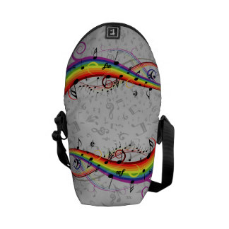 Rainbow Black Musical Notes on Gray Messenger Bags
