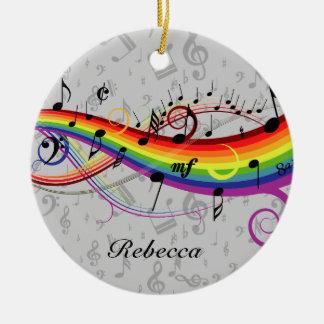 Rainbow Black Musical Notes on Gray Round Ceramic Decoration
