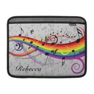 Rainbow Black Musical Notes on Gray Sleeves For MacBook Air