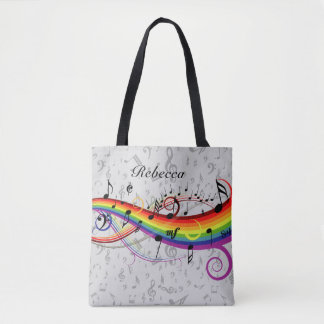 Rainbow Black Musical Notes on Gray Tote Bag