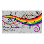 Rainbow Black Musical Notes on Grey Business Cards
