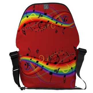 Rainbow Black Musical Notes on Red Commuter Bags