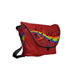 Rainbow Black Musical Notes on Red Courier Bag