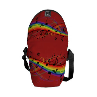 Rainbow Black Musical Notes on Red Messenger Bags