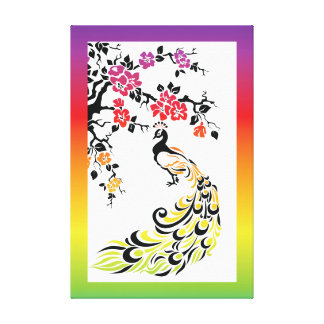 Rainbow, black peacock and cherry blossoms canvas print