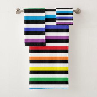 Rainbow Black White Stripes Bath Towel Set