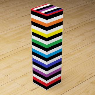 Rainbow Black White Stripes Wine Gift Box