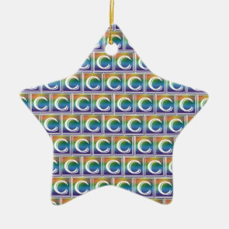 RAINBOW BLOCK LETTER C CHRISTMAS ORNAMENT