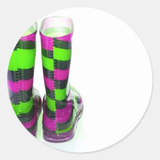 Rainbow Boots Round Sticker