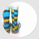 Rainbow Boots Round Stickers
