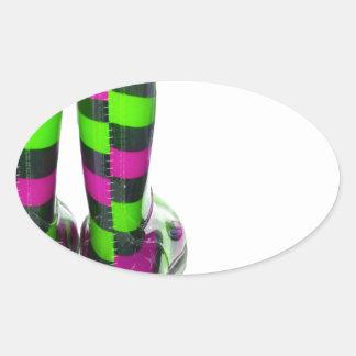 Rainbow Boots Oval Sticker