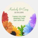 Rainbow Bouquet Wedding Round Sticker