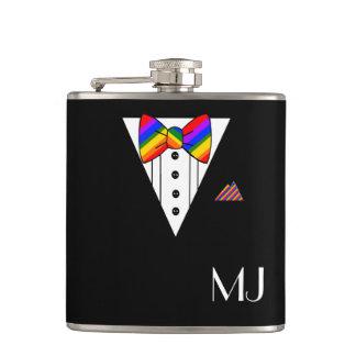Rainbow Bow Tie Black Tuxedo Monogrammed Flask