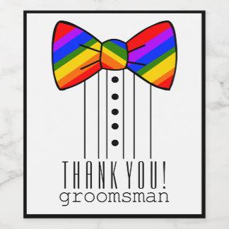 Rainbow Bow Tie Thank You Groomsman Wedding Wine Label