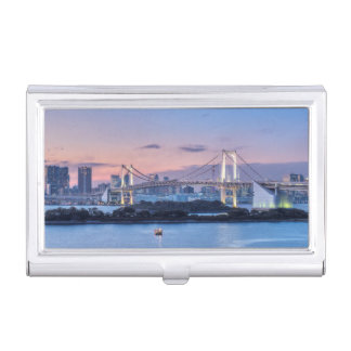 Rainbow Bridge at twilight Business Card Holder