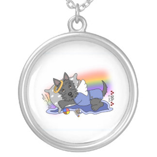 Rainbow Bridge black scottie boy Silver Plated Necklace