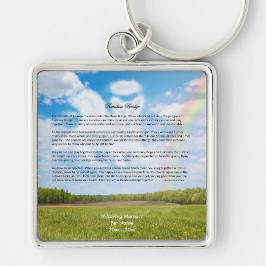 Rainbow Bridge Female Dog Sympathy Keychain