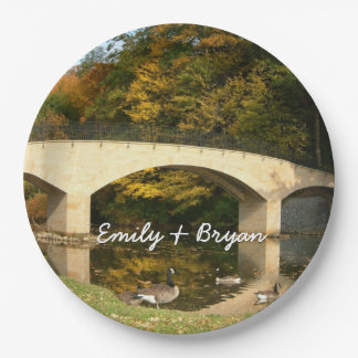 Rainbow Bridge in Fall at Grove City College Paper Plate