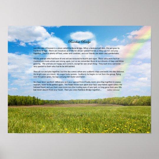 Rainbow Bridge Male Dog Sympathy Poster, Custom Poster
