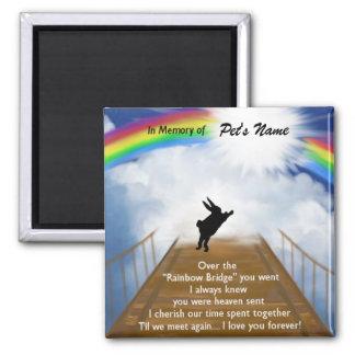 Rainbow Bridge Memorial for Rabbits Square Magnet