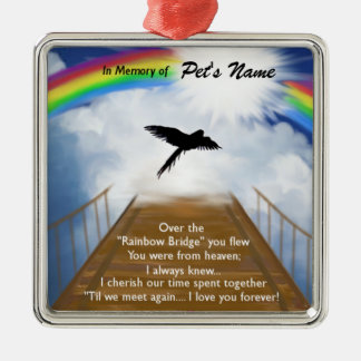 Rainbow Bridge Memorial Poem for Birds Christmas Ornament