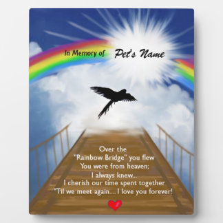 Rainbow Bridge Memorial Poem for Birds Plaque