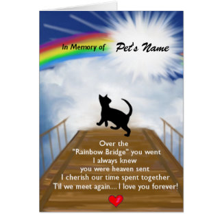 Rainbow Bridge Memorial Poem for Cats Card