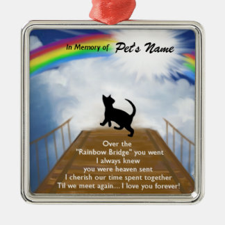 Rainbow Bridge Memorial Poem for Cats Christmas Ornament