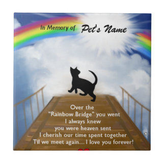 Rainbow Bridge Memorial Poem for Cats Tile