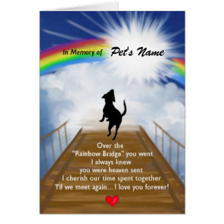 Rainbow Bridge Memorial Poem for Dogs Card