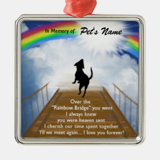 Rainbow Bridge Memorial Poem for Dogs Christmas Ornament