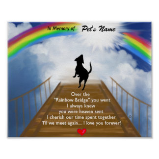 Rainbow Bridge Memorial Poem for Dogs Poster