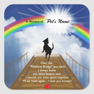 Rainbow Bridge Memorial Poem for Dogs Square Sticker