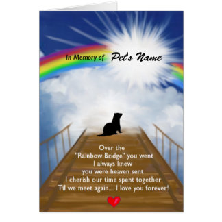 Rainbow Bridge Memorial Poem for Ferrets Card
