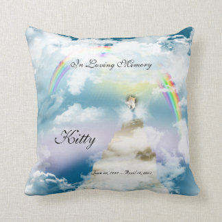 Rainbow Bridge Pet Cat Memorial Throw Pillow