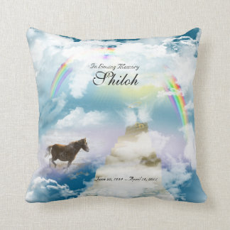 Rainbow Bridge Pet Horse Memorial Throw Pillow