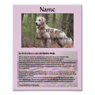 Rainbow Bridge Pet Memorial Pink Poster