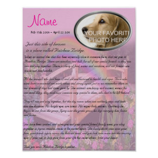 Rainbow Bridge Pet Memorial - Pink Poster