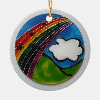 Rainbow Bridge Pet Memorial Round Ceramic Decoration