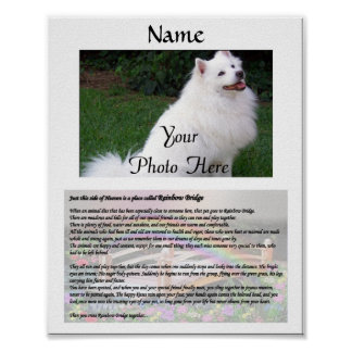 Rainbow Bridge Pet Memorial White Poster