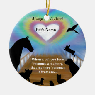 Rainbow Bridge Pets Round Ceramic Decoration