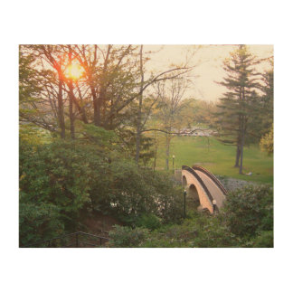 Rainbow Bridge Sunset at Grove City College Wood Print