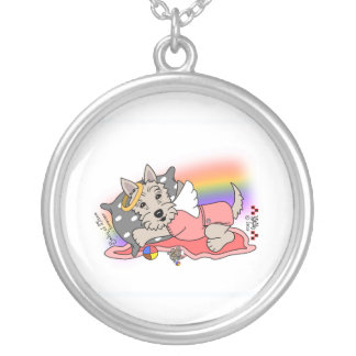 Rainbow Bridge wheaten scottie girl Silver Plated Necklace