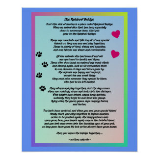 Rainbow Bridge With Paws And Hearts Poster