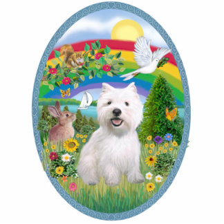 Rainbow Bright and West Highland Terrier Standing Photo Sculpture